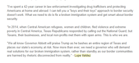 """Late Wednesday afternoon, Democratic gubernatorial hopeful Lupe Valdez put out this statement rebuking Gov. Greg Abbott for welcoming President Donald Trump's plan to deploy National Guard troops to the border. Her """"boys and their toys"""" comment and depiction of Abbott as a Trump lackey apparently got under the governor's skin. (Staff)"""