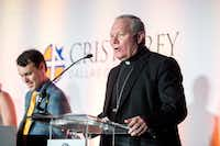 Edward J. Burns, bishop of Dallas, gives the invocation at a Draft Day ceremony at Cristo Rey Dallas College Prep on July 28, 2017 in Dallas. Burns, as well as other faith leaders and local government officials, are leading the #BeGolden campaign.(Special Contributor/Jeffrey McWhorter)