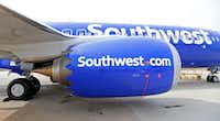 An engine of a Southwest Airlines' new plane, the 737 Max, at headquarters in Dallas.(Jae S. Lee/Staff Photographer)