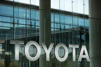 Signage in the front entrance of Toyota Motor North America headquarters in Plano. (Andy Jacobsohn/Staff Photographer)