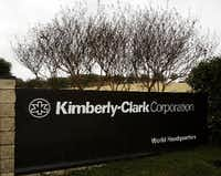 The entrance sign to Kimberly-Clark Corporation world headquarters campus in Irving.(L.M. Otero/AP)