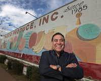 "<p><span style=""font-size: 1em; background-color: transparent;"">Taxco Produce founder Alfredo Duarte, shown at his business in Dallas, is part of Bishop Edward Burns' immigration task force that created the #BeGolden campaign, an effort to treat immigrants via the Golden Rule.</span></p>(Louis DeLuca/Staff Photographer)"