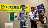 In the end, only one competitor could advance to the National Geographic Bee in Washington, D.C. It was Nihar Janga (left) of Austin who beat out second-place winner Armen Saxena of Katy and third-place winner Dwight Solano of Houston for a chance at national glory. (Ashley Landis/The Dallas Morning News)