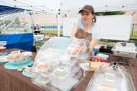 Cesarina Budetta of Dolci Creazioni offers Italian cuisine at Saint Michael's Farmers Market in Dallas.(Allison Slomowitz/Special Contributor)
