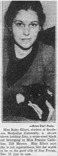 1935: Ruby Elliott was careful to stay on the good side of Jinx on Friday, Dec. 13.(The Dallas Morning News)