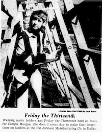 December 1974: Glenda Morgan walked under ladders every day, including Friday the 13th.(Jack Beers/Dallas Morning News)