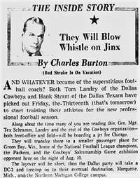 """July 1962: Tom Landry was not concerned about the """"risks"""" of beginning practice on Friday the 13th.(The Dallas Morning News)"""