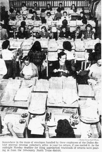 "<p><span style=""font-size: 1em; background-color: transparent;"">IRS workers surrounded by income tax letters submitted by deadline in 1952.</span></p>(The Dallas Morning News)"
