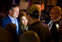 Sen. Ted Cruz poses for photos with supporters during a campaign event at River Ranch Stockyards in Fort Worth on April 4, 2018.(Smiley N. Pool/Staff Photographer)