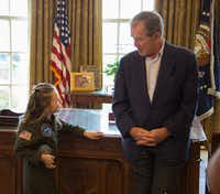 Young presidential scholar Macey Hensley met former President George W. Bush at the Bush Center in May 2016.(Andrew Kaufmann)