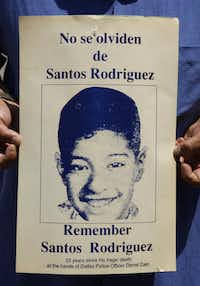 A 20-year old poster remembering the death of Santos Rodriguez, photographed July 5, 2013.(Evans Caglage/Staff Photographer)