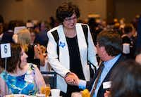 Gubernatorial candidate and former Dallas County Sheriff Lupe Valdez greets supporters at the 2018 Ann Richards Dinner, hosted by the Collin County Democrats, on April 12, 2018 at the Plano Event Center.(Ashley Landis/Staff Photographer)