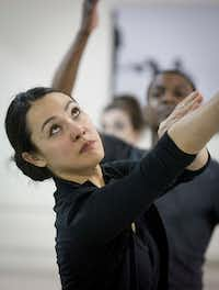 Kimi Nikaidoh works with Avant Chamber Ballet dancers Damien Johnson and Emily Dixon Alba on her new piece, <i>The Face of Water</i>.(Robert W. Hart/Special Contributor)
