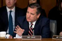 Sen. Ted Cruz, R-Texas, questions Facebook CEO Mark Zuckerberg as he testifies before a joint hearing of the Commerce and Judiciary Committees on Capitol Hill in Washington on April 10, 2018, about the use of Facebook data to target American voters in the 2016 election.(Andrew Harnik/The Associated Press)