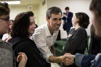Texas Rep. Beto O'Rourke, a Democrat running for a U.S. Senate seat, greets supporters at the Brandon Community Center after a town hall event in Lufkin on Feb. 9, 2018.(Tamir Kalifa/The New York Times)