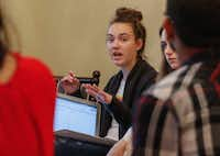 Haley Ott, 17, a senior at Centennial High School, made a comment while meeting with students from some of the other Frisco ISD high schools April 13, 2018, to plan a student walkout. The walkout will be April 20 in conjunction with the anniversary of the 1999 Columbine High School massacre.(Ron Baselice/Staff Photographer)