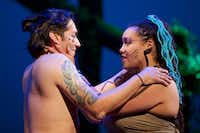 Jonah Gutierrez (playing Running Moon) and Ariana Cook (playing Abeni) are Earth dwellers in <i>Where Earth Meets The Sky</i>, a world premiere by Cara Mia Theatre Company at the Latino Cultural Center in Dallas.(Brandon Wade/Special Contributor)