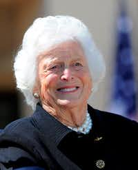 Former first lady Barbara Bush smiles during the George W. Bush Presidential Center dedication ceremony in Dallas in 2013.(Jewel Samad/AFP/Getty Images)