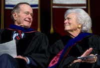 Barbara Bush and her husband, former President George H.W. Bush, attended the December 2008 Texas A&M University graduation ceremony in College Station, where their son, President George W. Bush, delivered the commencement address.(Agence France-Presse/2008 File Photo)