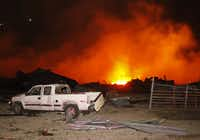 The site of a massive explosion in West, Texas, on the night of April 17, 2013. (File photo/The Dallas Morning News)