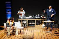 From left: Djore Nance, Stormi Demerson and Calvin Scott Roberts in the premiere of Regina Taylor's <i>Bread</i>, a contemporary play set in Oak Cliff, presented by WaterTower Theatre at the Addison Theatre Centre in Addison.(Lawrence Jenkins/Special Contributor)