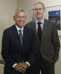 "<p><span style=""font-size: 1em; background-color: transparent;"">Jim Moroney (left) will turn over leadership of A. H. Belo Corporation to his predecessor and cousin, Robert W. Decherd. Both are great-grandsons of George Bannerman Dealey, the first and longest tenured publisher of <i>The Dallas Morning News</i>.</span></p>(David Woo / Staff Photographer)"