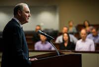 Southwest Airlines Chairman of the Board and Chief Executive Officer Gary Kelly answers questions from reporters on Tuesday, April 17, 2018 at Southwest Airlines Headquarters near Dallas Love Field Airport in Dallas. A Southwest Airlines flight headed for Dallas from New York had to make an emergency landing in Philadelphia due to engine failure. The failure caused one death and seven injuries. (Ashley Landis/The Dallas Morning News)(Ashley Landis/Staff Photographer)
