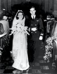 The wedding of George H.W. Bush and Barbara Pierce on January 6, 1945, in Rye, New York.(George Bush Presidential Library)
