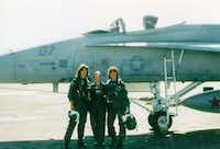 Tammie Jo Shults (left), Sue Hart and Linda Maloney were among the first women pilots in the Navy. (Linda Maloney/Military Fly Moms)