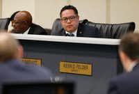Omar Narvaez, District 6 representative, questions Atmos Energy representatives about gas lines Wednesday in Dallas.<br>(Nathan Hunsinger/Staff Photographer)