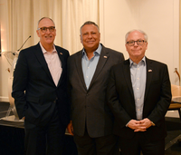 Juan Gonzalez (center) is CEO and chairman of GRUMA. Matthew Meyers (left) is dean of the Cox School of Business, and Tom Di Piero, dean at Dedman College of Humanities and Science.(SMU)