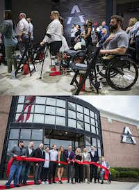 (Above) Athletes place their hands over their hearts as the national anthem played during the opening of the Adaptive Training Foundation on April 7, 2018 in Carrollton. (Below) Founder and owner David Vobora, center, cuts the ribbon, flanked by his wife, Sarah, (center right), and executive director Kat Watson Rehwinkel (center left), who supplied the clean diaper for his face after he was bitten by a dog. (Ashley Landis/Staff Photographer)