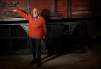 Holocaust survivor Simon Gronowski poses for photographs for the media by a replica railcar of the 20th deportation train he rode in in 1943 during an event at the Dallas Holocaust Museum in Dallas Thursday April 19, 2018. Gronowski escaped from the 20th deportation train on April 19, 1943 as it left the Belgian deportation camp for Auschwitz. Today was the 75th anniversary of the escape.(Andy Jacobsohn/Staff Photographer)