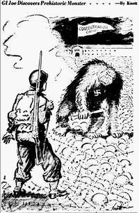 "<p><span style=""font-size: 1em; background-color: transparent;"">Cartoon featured in the April 21, 1945 edition of The Dallas Morning News.</span></p>(John Knott/The Dallas Morning News)"