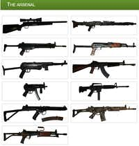 Some of the guns in Richard Page's collection.(Mamba Guns)