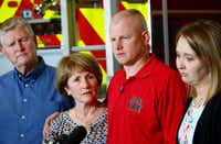 Tommy Needum, father, (from left) Julie Needum mother, Andrew Needum and his wife Stephanie Needum talk about their experience on Southwest Airlines Flight 1380 to the media at Celina City Fire Department on April 19, 2018. (Nathan Hunsinger/Staff Photographer)