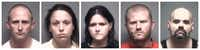 From left: Christopher Cornell, Elizabeth Delude, Claire Harrington, Clayton Miller and Paul Rogers are being held in the Grand Prairie Jail.