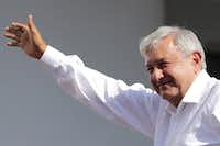 <p>Andrés Manuel López Obrador, presidential candidate of the National Regeneration Movement Party, or MORENA, greets supporters during an campaign event on April 20  in Mexico City. (Hector Vivas/Getty Images)</p>