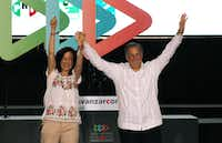 Presidential candidate Jose Antonio Meade of the Institutional Revolutionary Party (PRI), and his wife, Juana Cuevas, during a campaign rally in Merida, Mexico, on Sunday. (Israel Leal/The Associated Press)