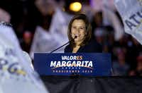 Former first lady and independent presidential candidate Margarita Zavala during a rally at the start of her campaign in Mexico City on Friday, March 30.(Eduardo Verdugo/The Associated Press)