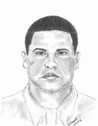 Police sketch of the suspect in a March 2 death.