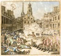 This vintage watercolor engraving features a massacre in Boston during the American Revolution.(kreicher/Getty Images/iStockphoto)