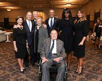This Saturday, April 21, 2018, photo provided by the Office of former U.S. President George H.W. Bush, shows Bush, front center, and past presidents and first ladies Laura Bush, from left, George W. Bush, Bill Clinton, Hillary Clinton, Barack Obama, Michelle Obama and current first lady Melania Trump in a group photo at the funeral service for former first lady Barbara Bush, in Houston. Barbara Bush died Tuesday, April 17. She was 92. (Paul Morse/Courtesy of Office of George H.W. Bush via AP)(Paul Morse/AP)