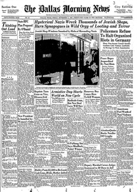 Front page of The Dallas Morning News on Nov. 11, 1938.( / )