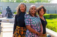 From left, Tonya Davis-Holloway, Anyika McMillan-Herod and Guinea Bennett-Price at the Freedman's Cemetery Memorial in Dallas.(Smiley N. Pool/Staff Photographer)