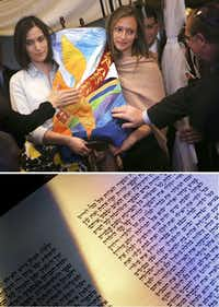 Top: Adina Weinberg (left) and Jordana Weinberg, daughters of Rabbi Stefan Weinberg, carry a torah made in honor of their mother, Wende Weinberg, into the Anshai Torah synagogue on April 15 in Plano. Bottom: Sunlight streaming through a window at Anshai Torah illuminates Hebrew writing in the congregation's new torah.(Ron Baselice/Staff Photographer)