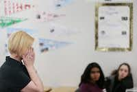 Choir teacher Allison Hartzell reacts while explaining the most difficult aspect of her cancer diagnosis, which she describes as the effect on her loved ones, during a class she visited at Coppell Middle School West.(Andy Jacobsohn/Staff Photographer)