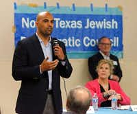 Lillian Salerno, candidate for the 32nd Congressional District, looks on as candidate Colin Allred answers a written question at a forum hosted by the North Texas Democratic Jewish Council at Walnut Hill Recreation Center in Dallas on April 23, 2018.(Stewart F. House/Special Contributor)