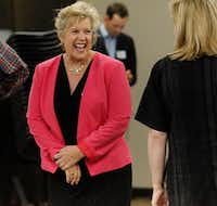 Candidate Lillian Salerno greets guests in attendance before a forum by the North Texas Democratic Jewish Council at Walnut Hill Recreation Center in Dallas on Monday.(Stewart F. House/Special Contributor)