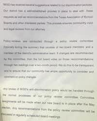 "<p><span style=""font-size: 1em; background-color: rgb(255, 255, 255);"">A copy of&nbsp;</span><span style=""font-size: 1em; background-color: transparent;"">Gonzalez's statement that was distributed to school board meeting attendees on Tuesday. (Elvia Limón/ The Dallas Morning News).</span></p>"